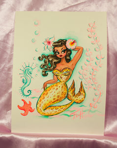 Leopard Brunette Mermaid- Original Drawing 9x12