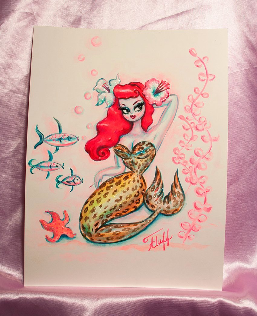 Leopard Redhead Mermaid- Original Drawing 9x12
