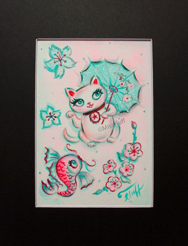 Lucky Kitty - Original 5x7