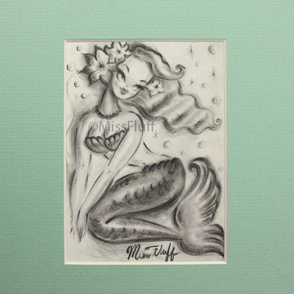 Mermaid with Clam Shell Bra and Bubbles - Original Mini Sketch