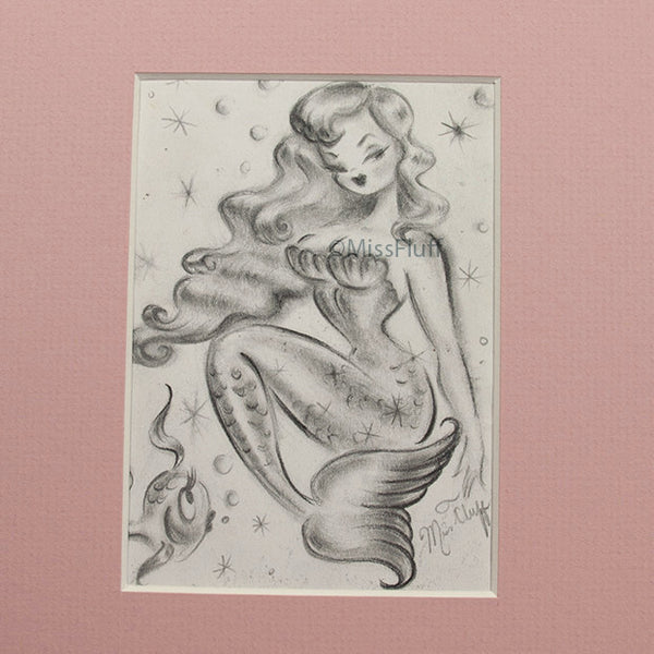 Pinup Mermaid with Surprised Fishy - Original Mini Sketch