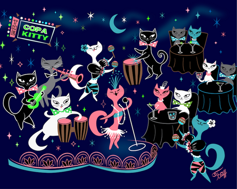 Mambo Kitties • Art Print