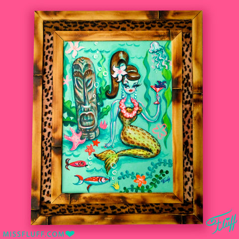 Leopard Martini Mermaid with Tiki - Original Painting FRAMED