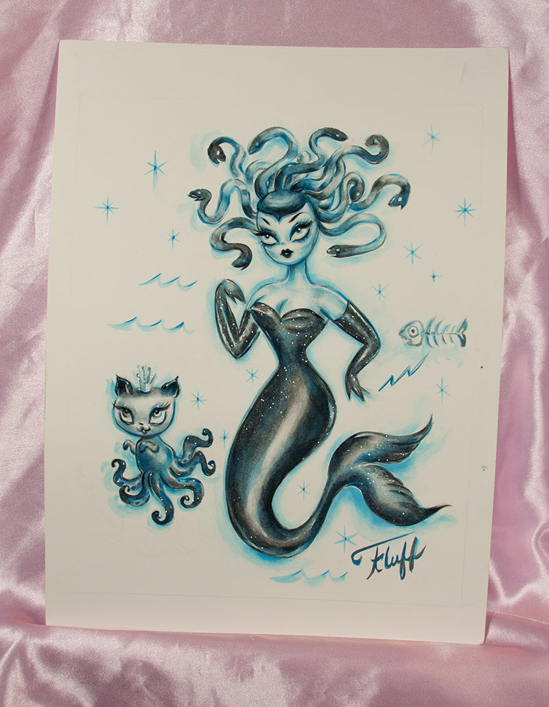 Blue Medusa - Original Drawing 8x10