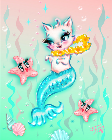 Merkitten with Lei and Starfish • Art Print