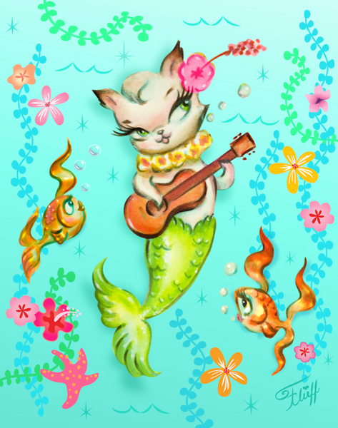 Merkitten with Ukulele • Art Print