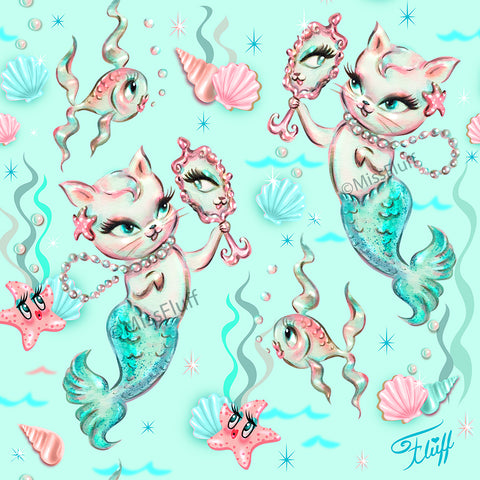 Merkittens with Pearls Aqua• Art Print