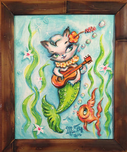 Merkitten with Ukelele- Original Painting 8x10