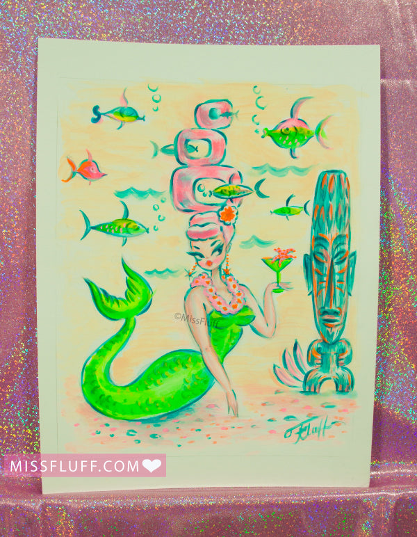Mermaid with Pink Reef Hair and Tiki - Original Drawing 8x10