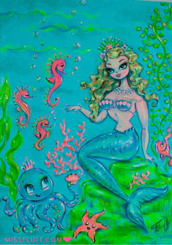 Mermaid Princess Olivia - Original Painting