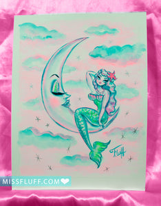Pastel Candy Colored Mermaid on the Moon- Original Drawing 8x10