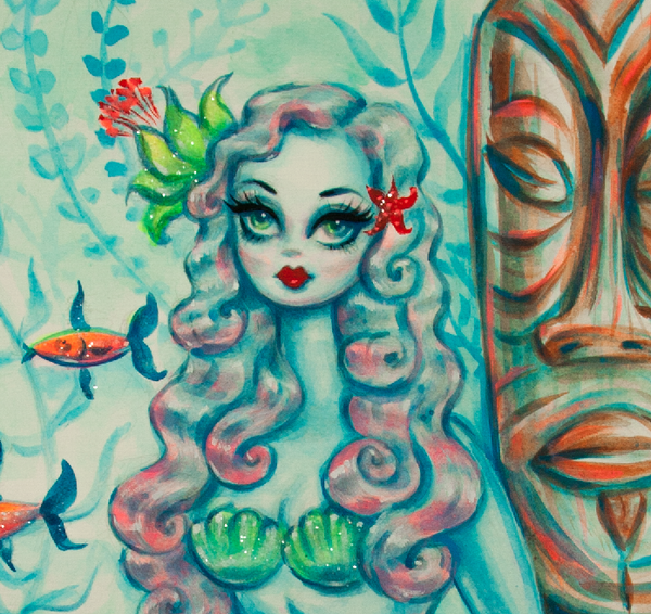 Enchanting Mermaid with Tiki- Original Drawing 9x12