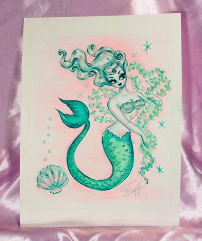 Pearly Mermaid with Seaweed Boa - Original Drawing 8x10