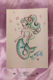 Pearla Mermaid Purse and Luggage Tag- SIGNED! With ORIGINAL Drawing!