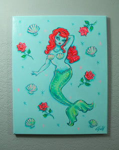 Mermaid and Roses - Original on Canvas 16 x 20