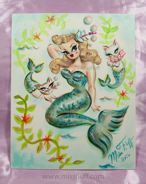 Blonde Mermaid with Merkittens- Original Painting