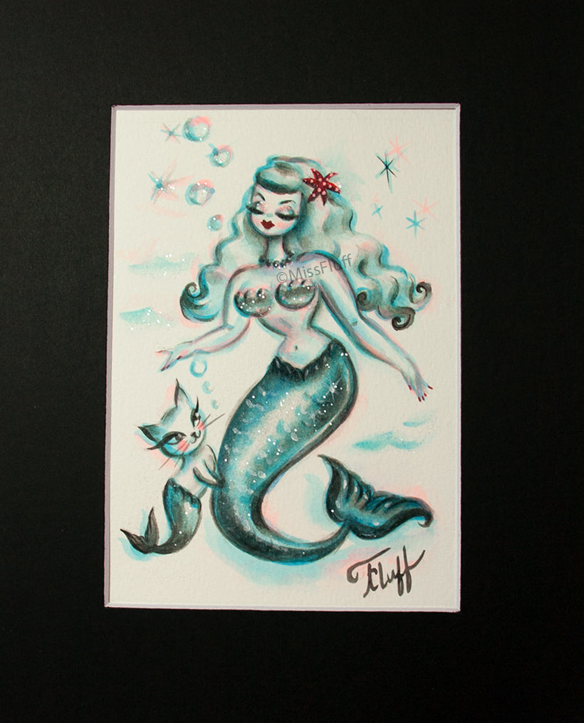 Blue Mermaid with Merkitty  - Original 5x7