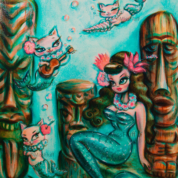 Aqua Tiki Mermaid with Sea Kittens! - Original Painting 11x15