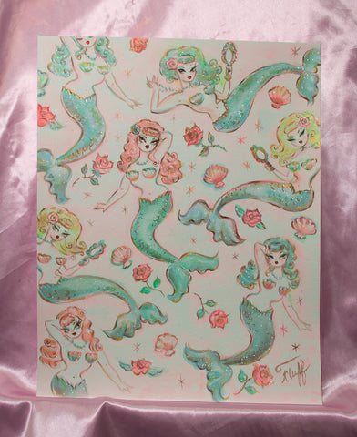 Mermaids and Roses - Original Sketch 11x14