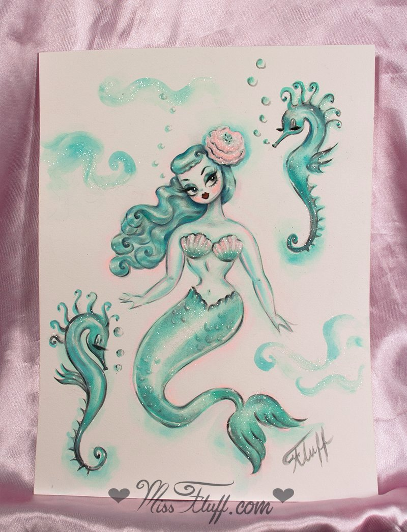 Mint Mermaid with Seahorses - Original Drawing 9x12