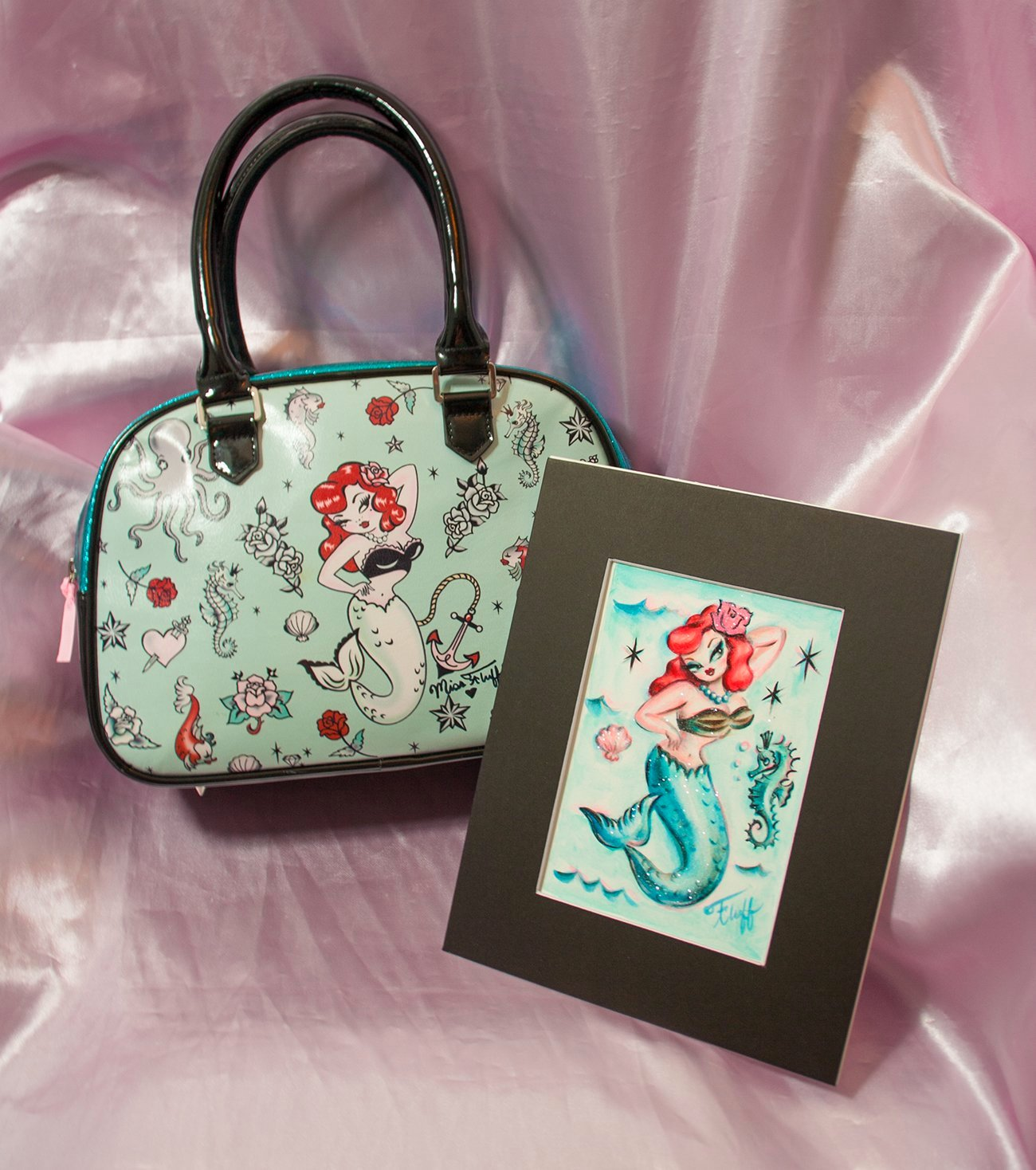 Pre-production One of a kind Sample Molly Mermaid Bag- SIGNED! and Original Drawing!