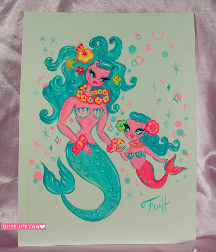 Mommy with Baby Girl Mermaids - Original Sketch 8x10