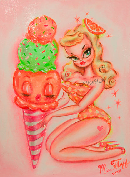 Orange and Lime Sherbet Doll - Original Painting 11x14