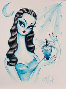 Perfume Girl in Blue - Original Drawing 9x12