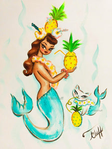 Tropical Pineapple Mermaid with Merkitten - Original Sketch 9x12
