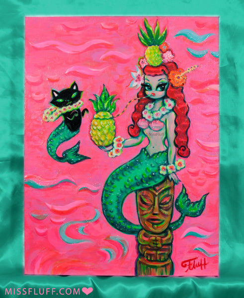 Pineapple Mermaid with Merkitten on Pink - Painting on Canvas
