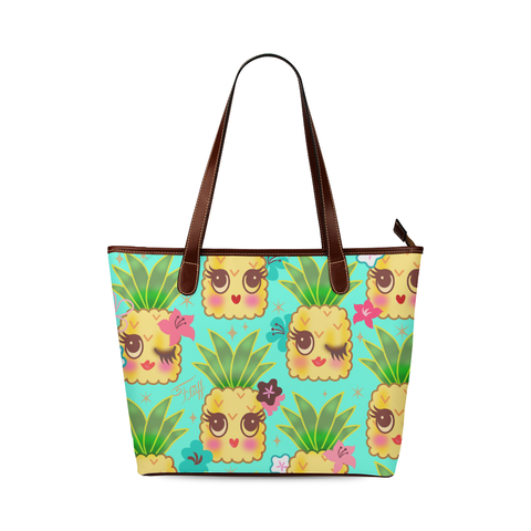 Happy Kawaii Cute Pineapples on Aqua • LIMITED EDITION Handbag