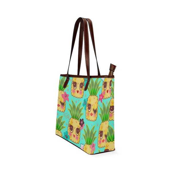 Happy Kawaii Cute Pineapples on Aqua • LIMITED EDITION Tote