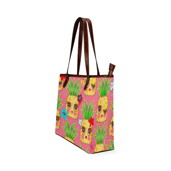 Happy Kawaii Cute Pineapples on Pink • LIMITED EDITION Handbag