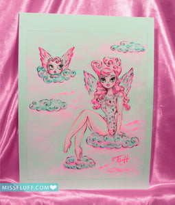 Pink Angel on a Cloud- Original Drawing 8x10