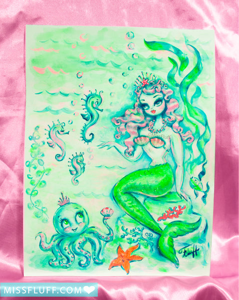 Pink Haired Princess Mermaid with Octopus- Original Drawing 9x12