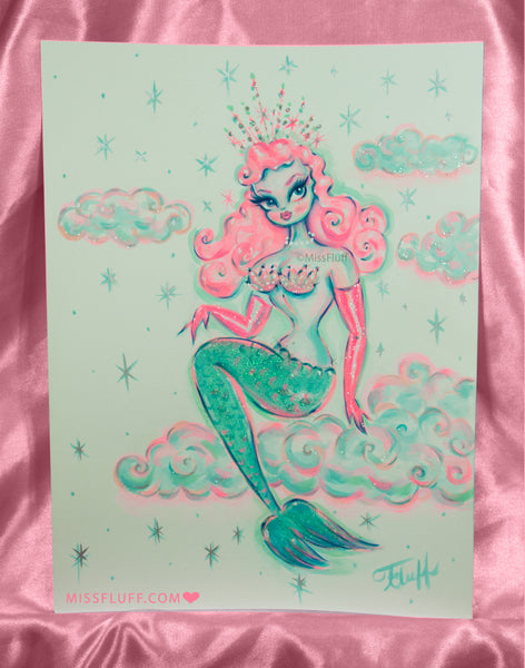 Magical Mermaid With Pink Hair in the Clouds - Original Drawing 9x12