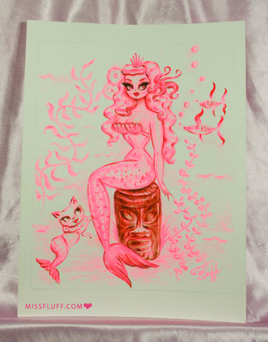 Pink Mermaid with Merkitty on Tiki- Original Drawing 8x10