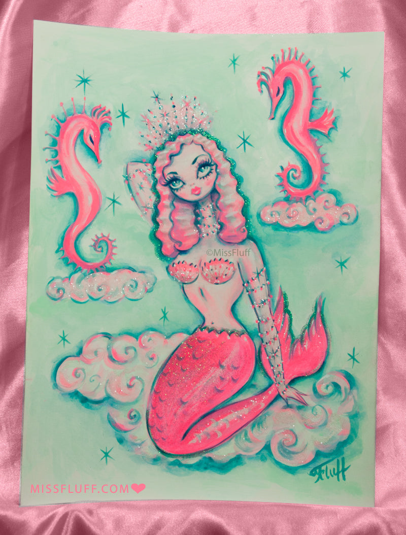 Pink Mermaid in the clouds with Seahorses - Original Drawing 9x12