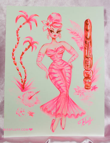 Pink Tiger Print Showgirl with Tiki- Original Drawing 9x12
