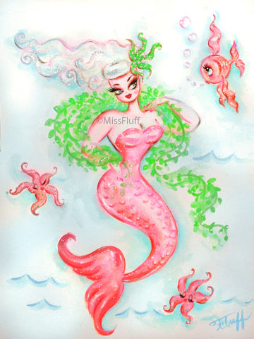 Pink Mermaid with Seaweed Boa- Original Drawing 11x14