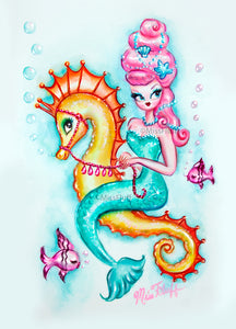 Pink Bouffant Mermaid Riding a Seahorse • Art Print