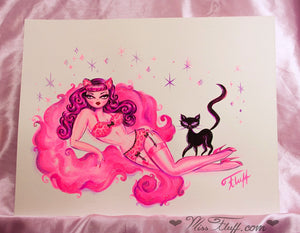 Pink Leopard Burlesque Girl with Kitty - Original Drawing 11x14