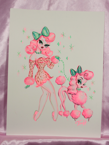 Pink Leopard Poodle Girl - Original Drawing 9x12