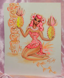 Pink Leopard Tiki Girl with Pineapples- Original Drawing 11x14