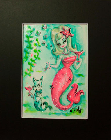 Pink Martini Mermaid With Chihuahua Mermaid - Original 5x7