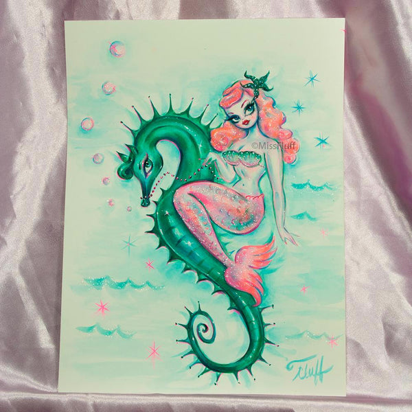 Pink Mermaid with Emerald Seahorse- Original Drawing 9x12