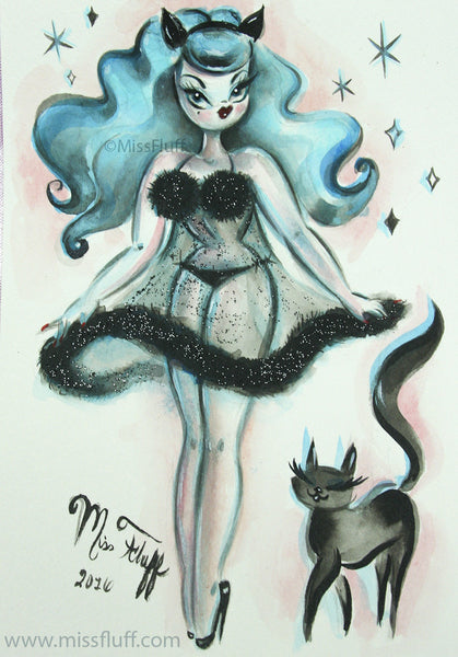Pinup girl with blue hair by Miss Fluff
