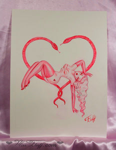 Poison Love- Burlesque dancer with snakes - Original Sketch 8x10
