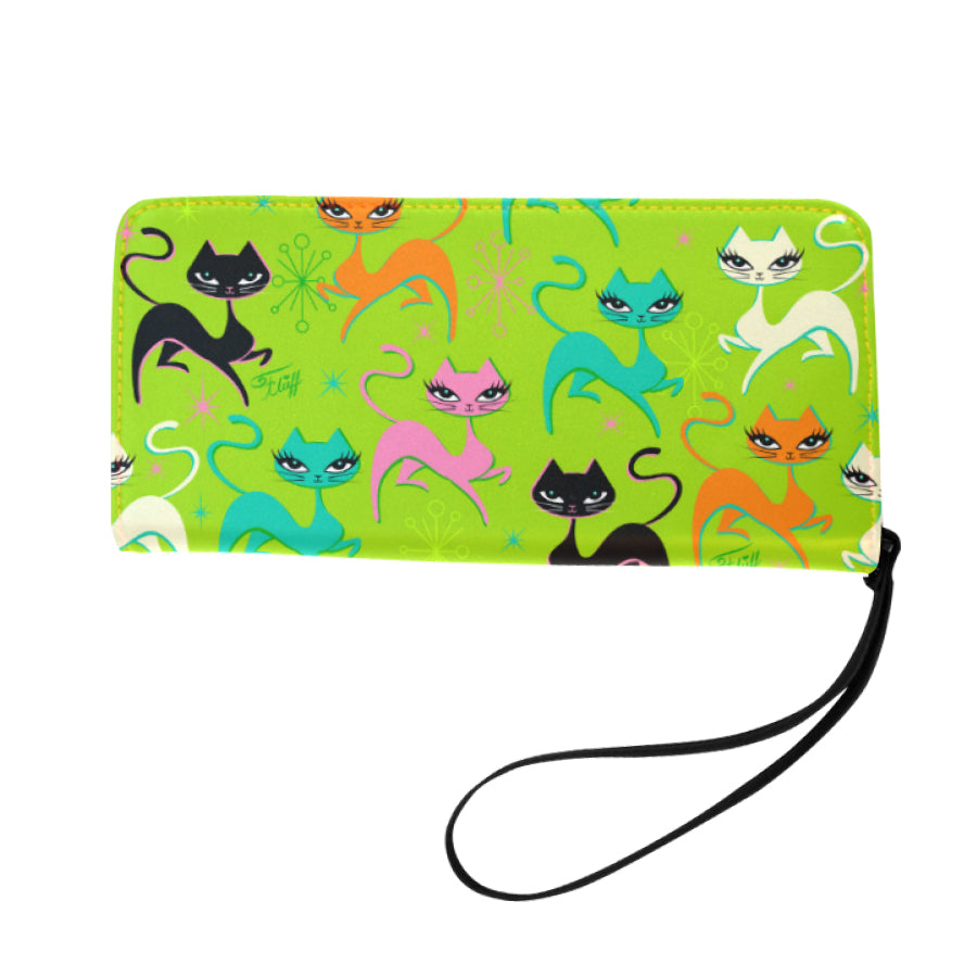 Prancing Kitten on Lime • Clutch Wallet