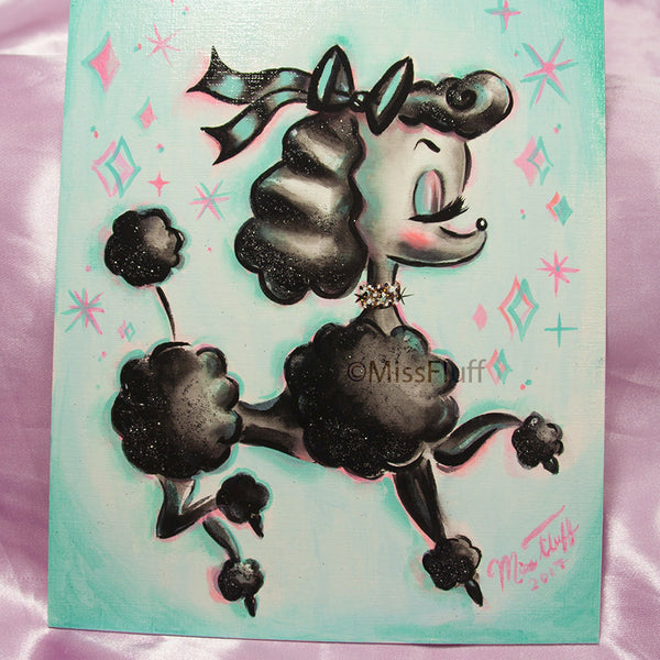 Black Prancing Poodle- Original Painting